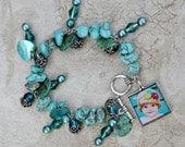 The Lauren Bracelet - Custom Teal Photo Bracelet