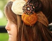 Custom for Sarah - Hello Fall Silk Rolled Rose Headband with vintage brooch