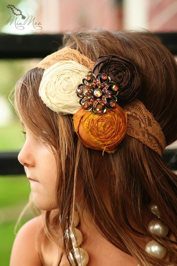 Custom for Sarah - Hello Fall Silk Rolled Rose Headband with vintage brooch