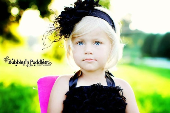 Black Leopard Headband with rhinestones and feathers for infant baby and toddler