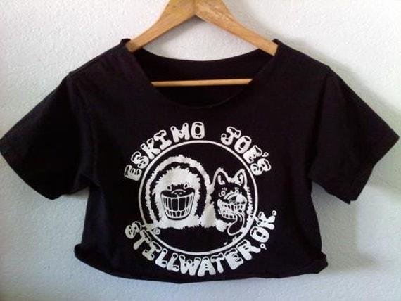 Juke Joint Oklahoma Crop Top / Cropped Half Shirt / 70s 80s 90s Grunge / Boho Hippie Chic / Summer Festival / Summer Punk Shows