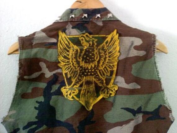 Camo Army Jacket Vest/Phoenix Firebird/U.S.A. Flag/Military/Combat/Fatigue/60s 70s 80s 90s Grunge/Indie/Winter