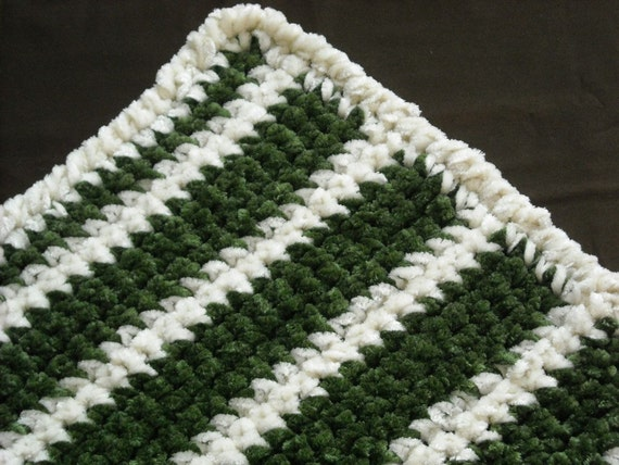 Green and White Stripes Afghan 37 x 33 inches