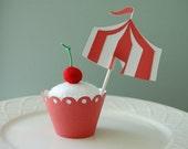 Circus Cupcake Wrapper and Circus Cupcake Picks, 24 Pcs, Circus Tent, Carnival Party, Carnival Shower, Carnival Party, Big Top,