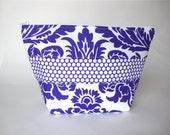 Large Makeup Bag- Purple Damask