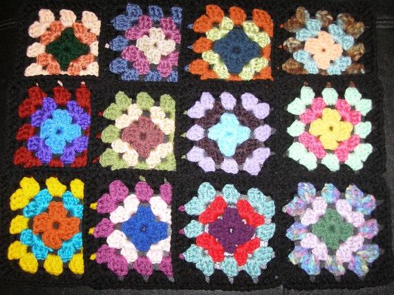 12 Crochet Granny Squares Multicolor With Black Border Set 2