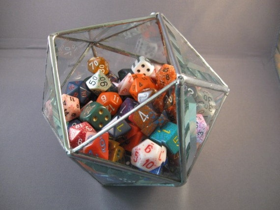 d20 dice bowl in clear or glue chip beveled glass