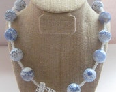 Agate Blue and White Necklace with Thai Silver Clasp Necklace - The Healing Stones