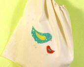 Mama bird - large muslin drawstring multipurpose bag
