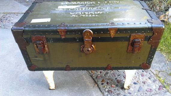 Vintage Footlocker Coffee Table RARE Female Army Interest