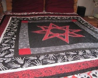 Queen Size Quilt Featuring  Eight Pointed Nordic Star Custom Order Yours Today
