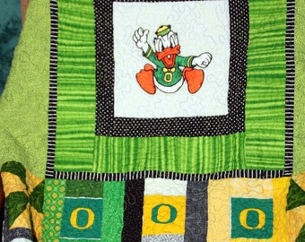 University of Oregon Ducks Throw Quilt   Custom Order Yours Today ...Do You Hear Them Quacking