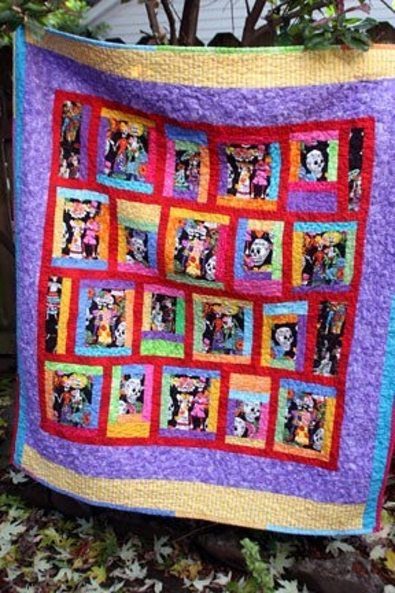 Quilt Throw Day of the Dead for Picnics or Tailgate Parties Custom Built Just for You