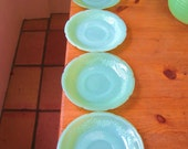 "Jadite Fire King Saucers -- 5 Perfectly Lovely Green Anchor Hocking ""Alice"" Saucers"