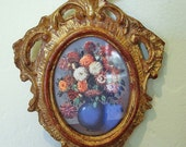 Bouquet in Blue Vase -- Beautiful Vintage Florentia Italian Flower Print in Ornate Gilded Frame // Grand Opening SALE