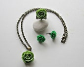 CLEARANCE-WAS 26.50 NOW 10.00 - Necklace, Ring and Earring Set - Apple Green - Antique Bronze