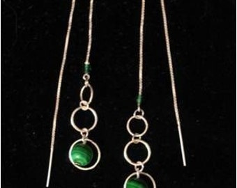 Malachite and Sterling Silver Ear Threads- Threader Earrings-Necklace-FREE SHIPPING To U.S.-