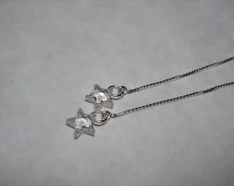 Tiny Clear Cubic Zirconia Stars on Sterling Ear Threads- Threader Earrings/Necklace-FREE SHIPPING To U.S.-