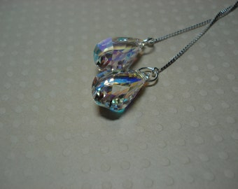 Rainbow Swarovski Crystal  Ear Threads-Threader Earrings/Necklace-FREE SHIPPING To U.S.-