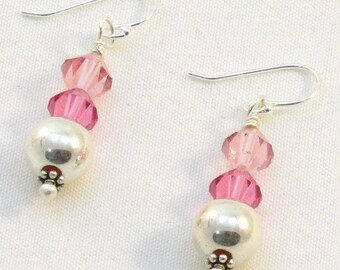 Sterling Silver Earrings with Pink Swarovski Crystals