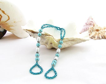 Barefoot Sandals Silver and Teal Pearl