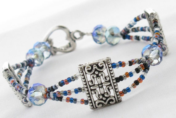 Bracelet with Blue Crystals & Seed Beads