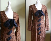 Vintage 1960s Dress / Chocolate Brown with Black Ribbon Detailing / Mad Men / Size M