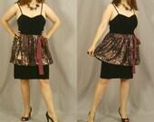 SALE 80s Cocktail Dress / 80s Prom Dress / Black Velvet Corset and Animal Print / L