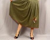 Sale Vintage Folk Skirt / 1960s Alpine Dirndl Skirt / Olive Green with Red Rick Rack and Floral Embroidery / L Oktoberfest