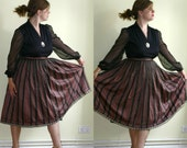 Sale Vintage Full Skirt / Striped / Earth Tones / Dirndl / XL Clearance