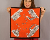 Belle Epoque Vintage Scarf / Novelty Print / Black Gray and Red