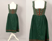 Vintage Balkonett Dirndl / Military Style in Green and Red / M L