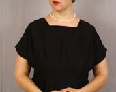 Sale / 1950s Black Dress / Mid Century Vintage / Little Black Dress / Rayon Crepe / Plus Size / Clearance sale