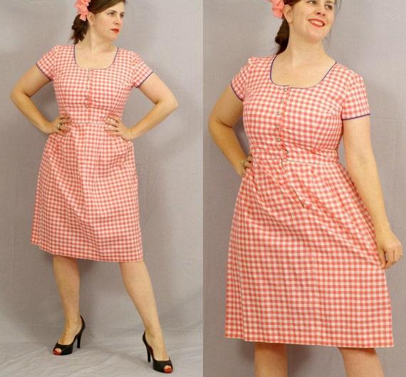 Sale / Checkered Dirndl Dress / Pink and White / Rockabilly / L XL / Clearance / Oktoberfest