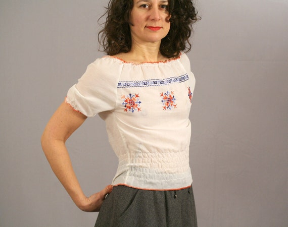 Mexican Embroidered Blouse / Red White Pink and Blue / XS S