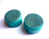 Turquoise Kaleidoscope Tribal Plugs Gauged 18mm 11/16Inch Polymer Clay Can be MADE in ANY SIZE 4g 1g 2g 0g 00g