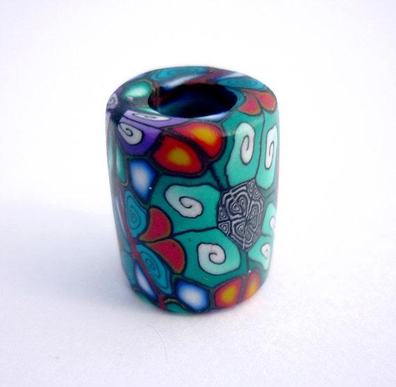 Dreadlock Bead Kaleidoscope Polymer Clay 7mm Hole Dread Dreads Beads