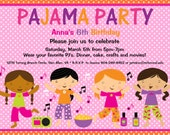 Pajama Party Birthday Invitation - Sleepover Birthday Invitations - PJ Party Birthday Invite - Printable or Printed - Twins and Siblings