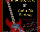 Rockstar Guitar Birthday Invitation Rockstar Guitar Birthday Party Invitation Printable