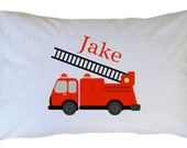Personalized Fire Truck Pillow Case, Standard, Travel, Toddler Size Pillowcases for Kids Babies and Adults