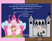 Princess Knight Birthday Invitation - Printable or Printed Princess Knight Birthday Invite - Boy and Girl Twins or Siblings