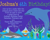 Under the Sea Birthday Invitation - Aquarium Dolphin Party Invitations - Printable or Printed