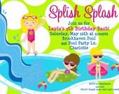Pool Party Birthday Invitation Girls Pool Party Birthday Party Invitation Printable