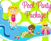Pool Party Package, CHOOSE ANY 6 ITEMS, Birthday Invitation, Thank You Card, Cupcake Toppers, Favor Tags and more...