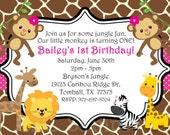 1st Birthday Girl Invitation Monkey - Jungle Birthday Invitation - Safari Baby Shower Invitation - Boy Girl Twins - Printed - Printable