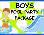 Boys Pool Party Water Slide Birthday Party Package, Owl Birthday Invitation and Party Decorations, CHOOSE ANY 6 ITEMS, Printable