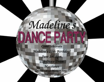 Disco Dance Birthday Invitation - 70s 80s 90s Disco Ball Party Invite - Printable or Printed
