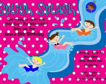 Pool Party Birthday Invitation - Water Slide Birthday Invitations - Boy and Girl Pool Party Invitations - Printable or Printed
