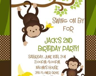 Monkey Birthday Invitation - Printable or Printed Monkey 1st Birthday Invite for Boy Girl Twins - Jungle Birthday Invitations