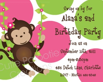 Monkey Birthday Invitation - Printable or Printed - Pink and Green Mod Monkey Birthday Party Invitations - Monkey 1st Birthday Invite